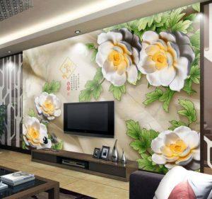 Tranh dán tường hoa 3D Phòng khách BE164