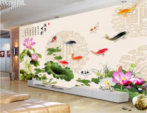 Tranh dán tường Hoa sen 3D Phòng khách BE160