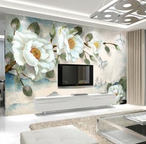 Tranh dán tường Hoa 3D Phòng khách BE159