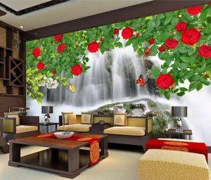 Tranh dán tường Hoa hồng Phòng ngủ BE156