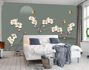 Tranh dán tường Hoa 3D Phòng ngủ BE155
