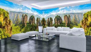 Tranh Phong cảnh dán tường 3D Phòng khách BE153
