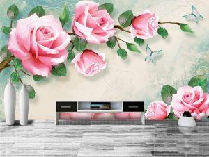 Tranh dán tường hoa hồng Phòng ngủ BE151